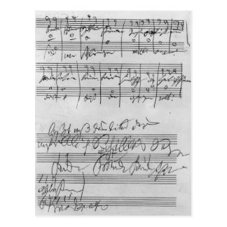 Partitura musical manuscrita postal