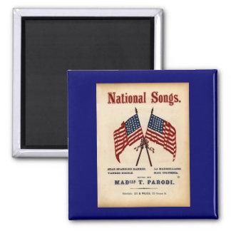 Partitura nacional del vintage de las canciones imán cuadrado