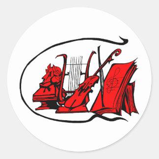 partitura roja design.png del violín del lyre del pegatina redonda