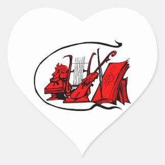 partitura roja design.png del violín del lyre del pegatina en forma de corazón