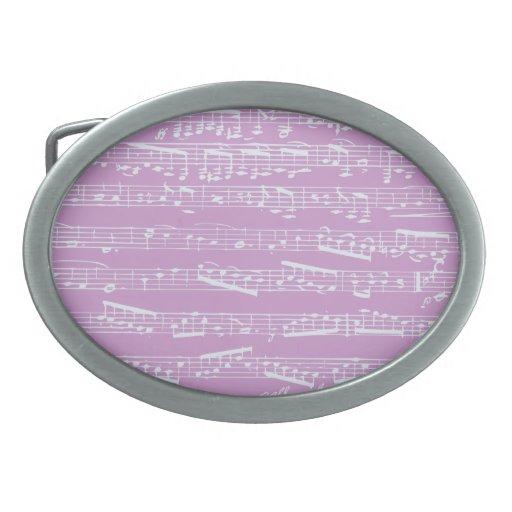 Partitura rosada hebillas de cinturon ovales