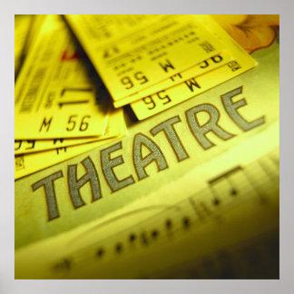 Partitura y boletos del teatro poster