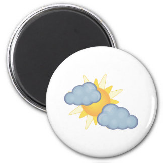 partly cloudy 2 inch round magnet
