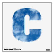 Partly Cloudy Blue Sky Photo Letter C Wall Decal