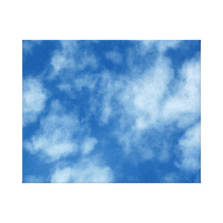 Partly Cloudy Blue Sky Photo on Wrapped Canvas