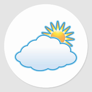partly cloudy classic round sticker