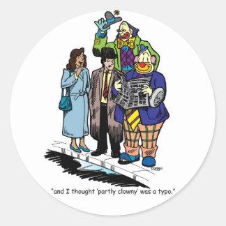 Partly Clowny Classic Round Sticker