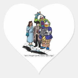 Partly Clowny Heart Sticker