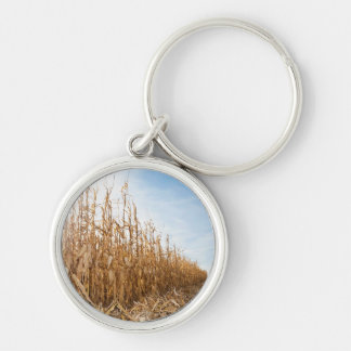 Partly Harvested Corn Field Keychain