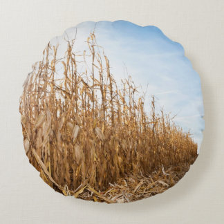Partly Harvested Corn Field Round Pillow