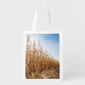 Partly Harvested Corn Field Grocery Bags