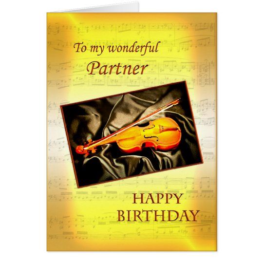 Partner, a musical birthday card with a violin