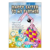 Partner Easter Card - Easter Bunny Flowers