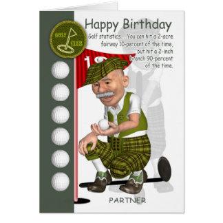 Partner Golfer Birthday Greeting Card With Humor