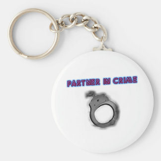 Partner In Crime Right Handcuff Basic Round Button Keychain