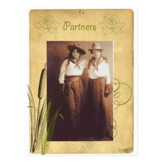 Partners Cowgirl Vintage Photo Collage Postcard