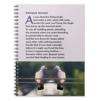 Partners forever poem with dove photo note book