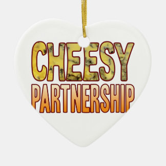 Partnership Blue Cheesy Ceramic Ornament