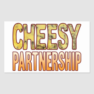Partnership Blue Cheesy Rectangular Sticker