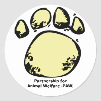 Partnership for Animal Welfare (PAW) Classic Round Sticker