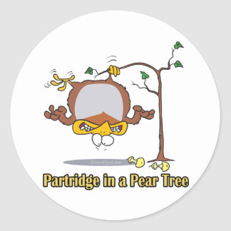 partridge in a pear tree 1st first day christmas classic round sticker