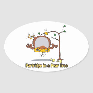 partridge in a pear tree 1st first day christmas oval stickers