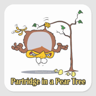 partridge in a pear tree 1st first day christmas square sticker