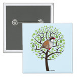 Partridge in a Pear Tree 2 Inch Square Button