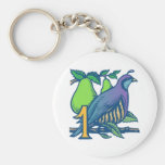 Partridge in a Pear Tree Basic Round Button Keychain