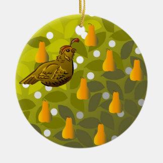 Partridge in a Pear Tree Ceramic Ornament