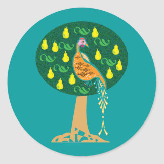 Partridge in a pear tree Christmas carol Round Sticker