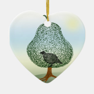 Partridge In A Pear Tree Christmas Heart Ceramic Ornament