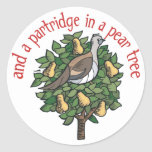 Partridge in a Pear Tree Classic Round Sticker
