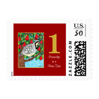 Partridge in a Pear Tree Cute Bird & Typography Postage