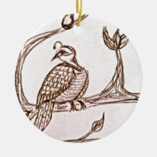 Partridge in a Pear Tree Double-Sided Ceramic Round Christmas Ornament