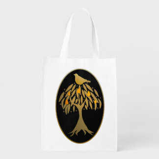 Partridge in a Pear Tree Gold Reusable Grocery Bag