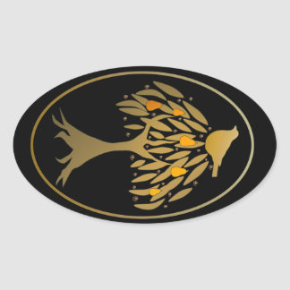 Partridge in a Pear Tree Gold Oval Stickers