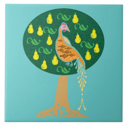 Partridge in a pear tree large square tile