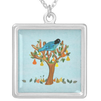 Partridge in a Pear Tree Silver Necklace