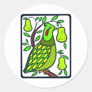 Partridge in Pear Tree Round Sticker