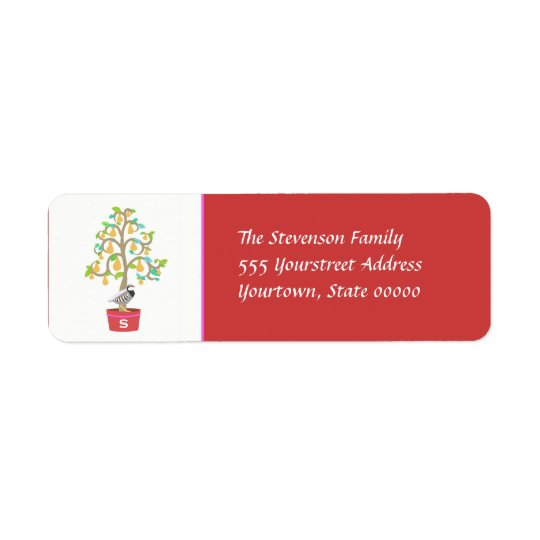 Partridge Monogrammed  Return Address Label