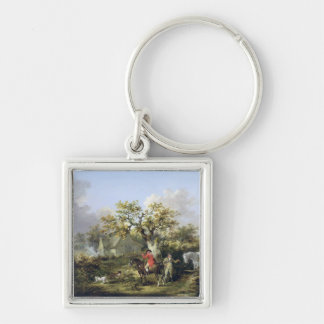 Partridge Shooting (oil on canvas) Keychain