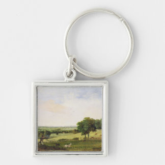 Partridge Shooting (oil on millboard) Keychain