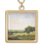 Partridge Shooting (oil on millboard) Square Pendant Necklace