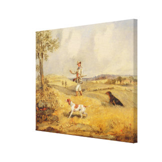 Partridge Shooting (oil on panel) Canvas Print