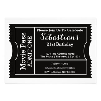 Party Admission Ticket Black And White 5x7 Paper Invitation Card