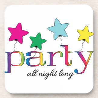 party all night long beverage coasters