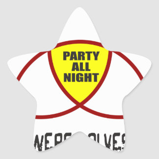 PARTY ALL NIGHT T-SHIRTS AND GIFTS STAR STICKER