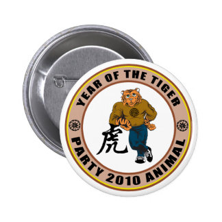 Party Animal 2010 Year of The Tiger Pinback Button