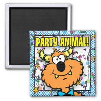 Party Animal 2 Inch Square Magnet